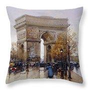 L'arc De Triomphe Paris Throw Pillow by Eugene Galien-Laloue