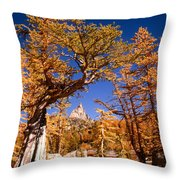 Larch Trees Frame Prusik Peak Throw Pillow