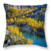 Larches At Perfection Lake Throw Pillow