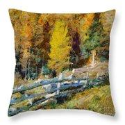 Larches In Autumn Throw Pillow