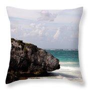 Large Boulder On A Caribbean Beach Throw Pillow