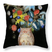 Large Bouquet On A Black Background Throw Pillow by Odilon Redon