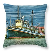 Large Fishing Boat Hdr Throw Pillow