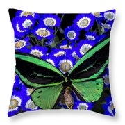 Large Green Butterfly Throw Pillow
