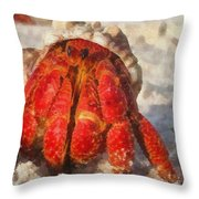 Large Hermit Crab On The Beach Throw Pillow