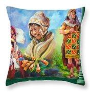 Large Mural In Cusco Peru Part 4 Throw Pillow