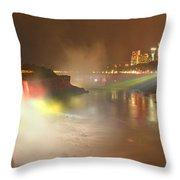 Large Niagara Nighttime Panorama Throw Pillow