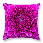 Large Pink Dahlia Retro Style Throw Pillow