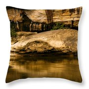 Large Rock In Cumberland River Throw Pillow