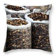 Large Sacks With Dried Mushrooms Throw Pillow