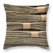 Large Stack Of American Cash Money Throw Pillow