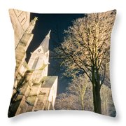 Large Stone Church At Night Throw Pillow