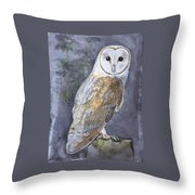 Large White Barn Owl Throw Pillow