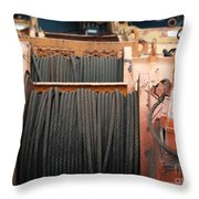 Large Winch With Steel Cable Throw Pillow