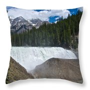Larger View Of Wapta Falls In Yoho Np-bc Throw Pillow