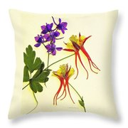 Larkspur And Columbine Throw Pillow