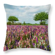 Larkspur Fields Forever Throw Pillow