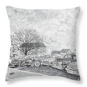 Larry Hill Vintage Car Lot Throw Pillow