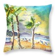 Las Canteras Beach In Las Palmas De Gran Canaria Throw Pillow