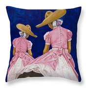 Las Charras Rosadas Throw Pillow
