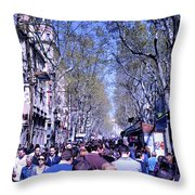 Las Ramblas - Barcelona Spain Throw Pillow