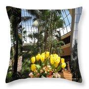 Las Vegas Attrium Architecture N Interior Decorations Casinos Resorts Hotels Flowers Sky Green Signa Throw Pillow