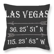 Las Vegas Coordinates Throw Pillow