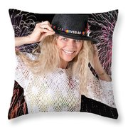 Las Vegas Fireworks Party Woman Throw Pillow