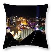 Las Vegas Night Pano Throw Pillow