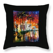 Las Vegas - Palette Knife Oil Painting On Canvas By Leonid Afremov Throw Pillow