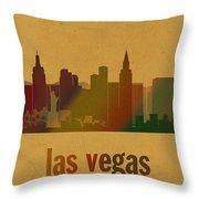 Las Vegas Skyline Watercolor On Parchment Throw Pillow