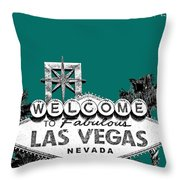Las Vegas Welcome To Las Vegas - Sea Green Throw Pillow by DB Artist