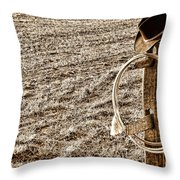 Lasso And Hat On Fence Post Throw Pillow