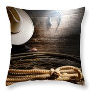 Lasso In Old Barn Throw Pillow