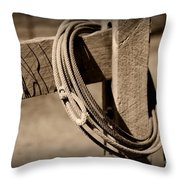 Lasso On Fence Post Rustic Throw Pillow