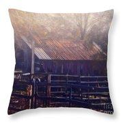 Last Foggy Morning On The Farm Throw Pillow