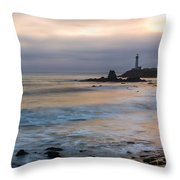 Last Light At Pigeon Point Lighthouse Throw Pillow