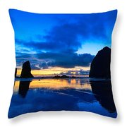 Last Light - Cannon Beach Sunset With Reflection In Oregon The Coast Throw Pillow
