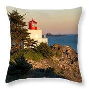 Last Light On Amphritite Lighthouse Throw Pillow