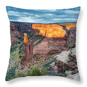 Last Light On Spider Rock Canyon De Chelly Navajo Nation Chinle Arizona Throw Pillow