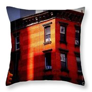 Last Rays Of The Sun - Old Buildings Of New York Throw Pillow