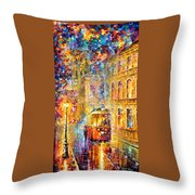 Last Trolley - Palette Knife Oil Painting On Canvas By Leonid Afremov Throw Pillow