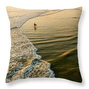 Last Wave - Lone Surfer Waiting For The Perfect Wave In Huntington Beach Throw Pillow