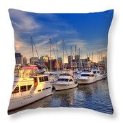 Late Afternoon At Constitution Marina - Charlestown Throw Pillow