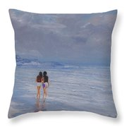 Late Afternoon In The Beach Throw Pillow