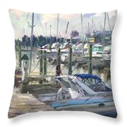 Late Afternoon In Virginia Harbor Throw Pillow