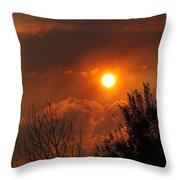 Late Afternoon Sun Through Smoke And Clouds Throw Pillow
