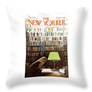 Late Night At The Library Throw Pillow