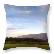 Late October Dusk At Cades Cove Throw Pillow