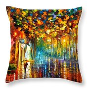Late Stroll Miami Throw Pillow by Leonid Afremov